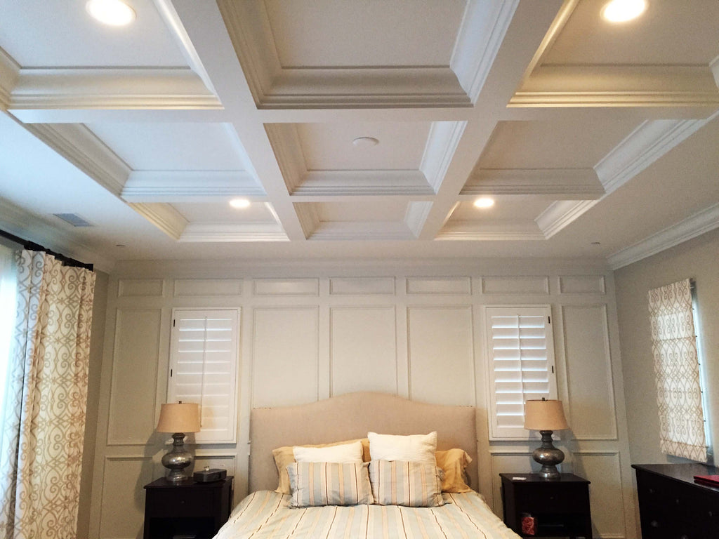 Coffered Ceilings work well in any room in your house. Below are two  classic examples of two different rooms in the same house.
