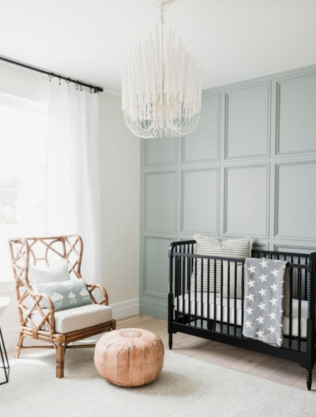 wainscot woodwork accent baby room wall