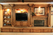 Faux Finished Entertainment Center With Custom Fireplace Mantel