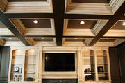 Entertainment Center With Antiqued Finish, Two Tone Coffered Ceiling