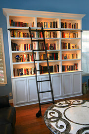 Paint-Grade Library Cabinet With Rolling Library Ladder