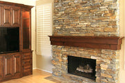 Alder Stain-Grade Shelf Mantel With Dark Stain and Stack Stone