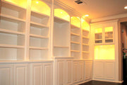 White Paint-Grade Bookcases with Arched Tops and Lights