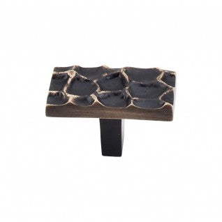 Cobblestone Rectangle Knob Brass Antique