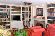 White Paint-Grade Entertainment Wall with Library Cabinets