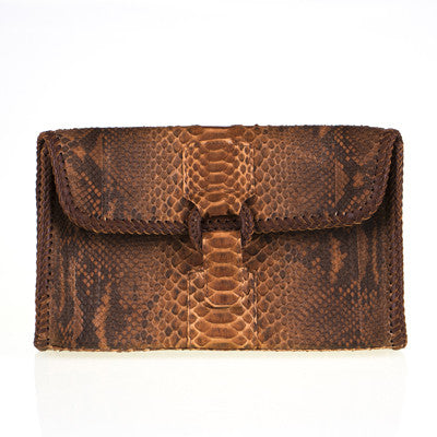 Brown Envelope Clutch with Stitching