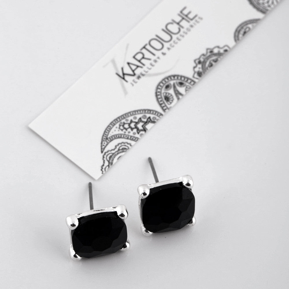 Black and Silver Cushion Cut Studs