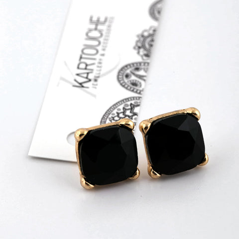 Black and Gold Cushion Cut Studs