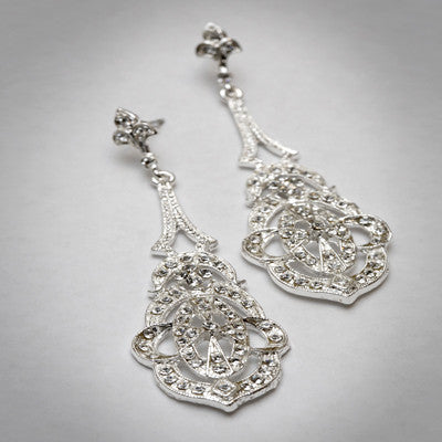 Silver Art Deco Earrings