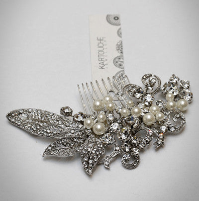 Faux Pearl and Diamonte Hair Comb