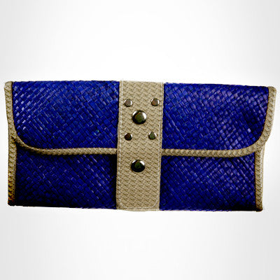 Blue Rattan Stud Clutch