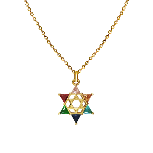 CADENA GOLD FILLED - MAGEN DAVID MULTICOLOR