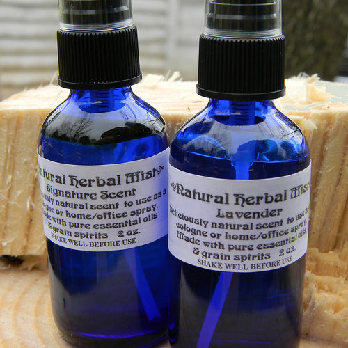 Photograph of bottles of Natural Herbal Mist body and room spray