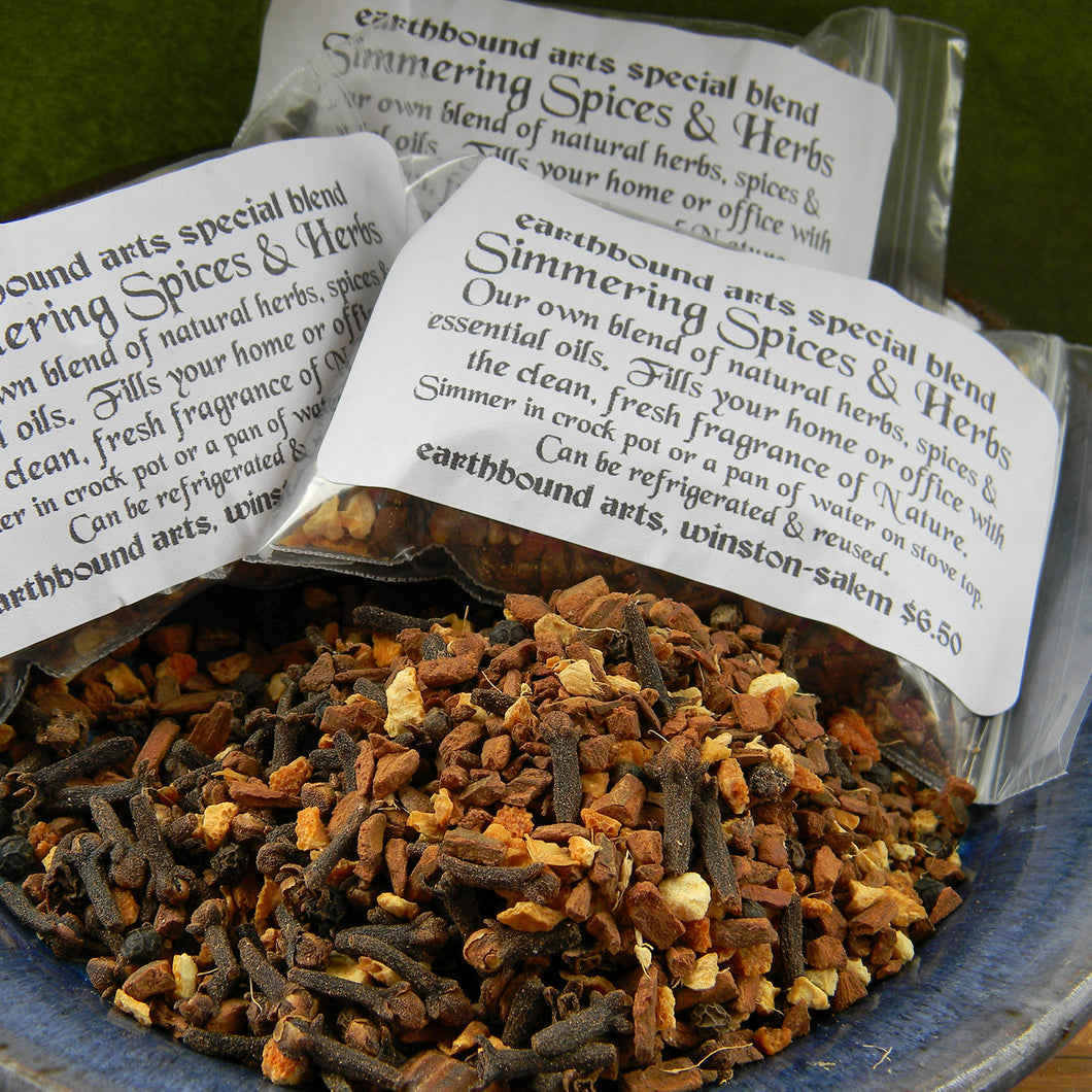 Photograph of simmering spices and herbs sold at Earthbound Arts