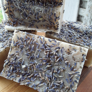 Photograph of lavender oatmeal soap