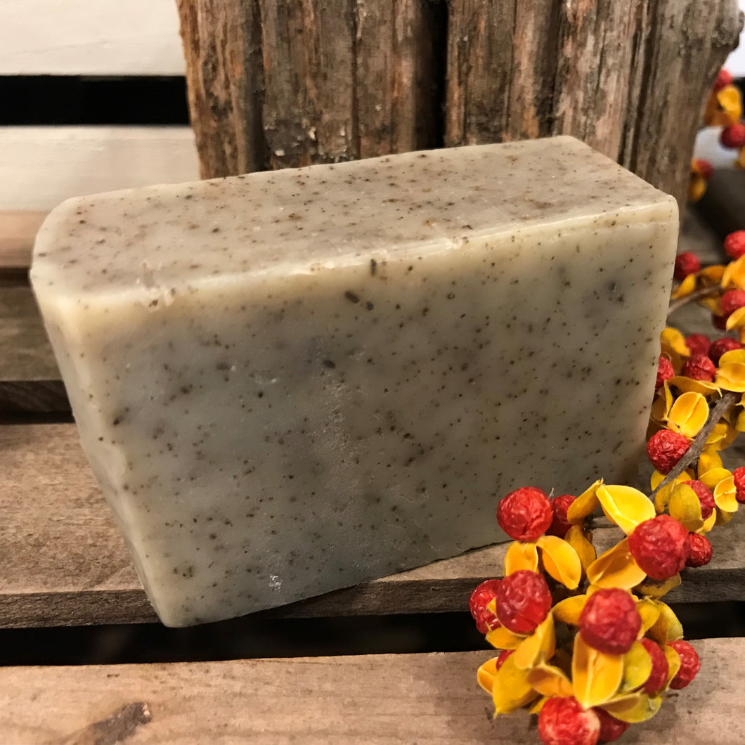 Photograph of a bar of Earthbound Arts patchouli orange soap