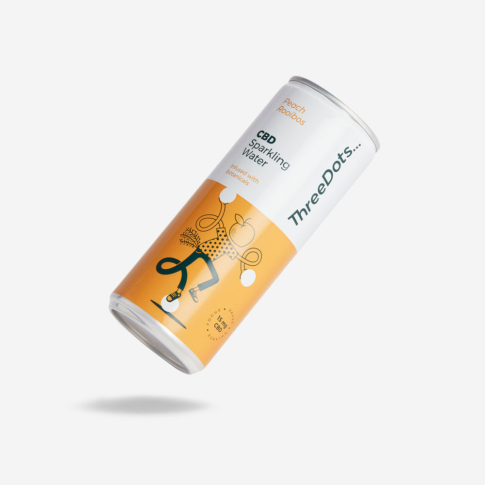 ThreeDots CBD botanical-infused sparkling water Peach Rooibos