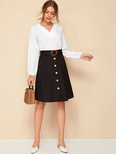 Button Front Belted Midi Skirt
