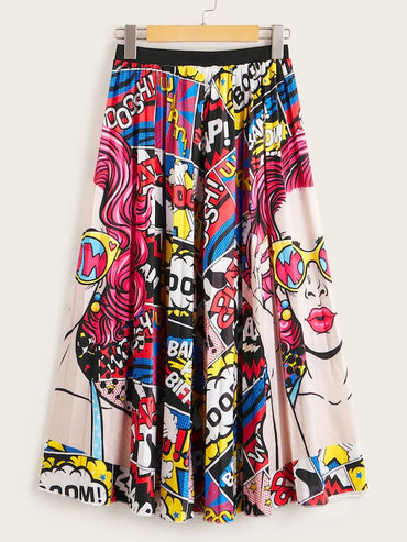 Comic Print Full Length Skirt
