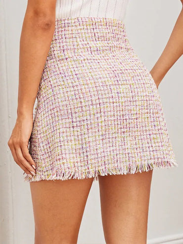 Double Button Raw Hem Tweed Skirt