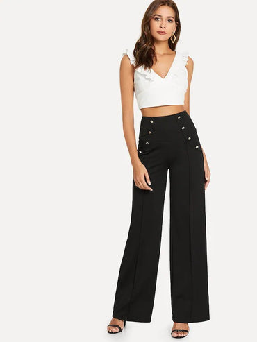 Double Button Solid Pants