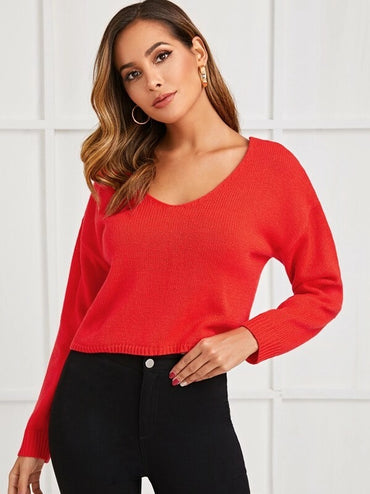 Drop Shoulder Knotted Backless Sweater