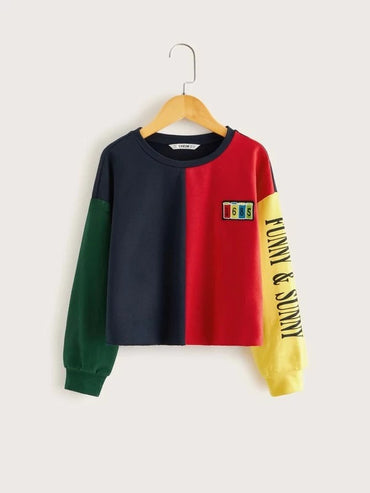 Girls Slogan Graphic Colorblock Patched Pullover