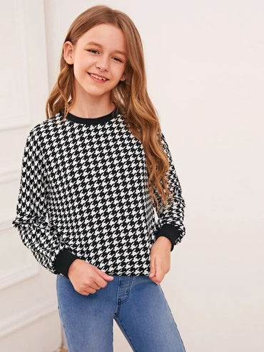 Girls Solid Trim Houndstooth Pullover