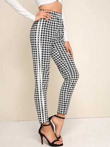High Waist Striped Side Gingham Pants