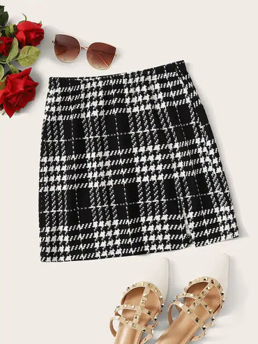 Plaid Textured Skirt