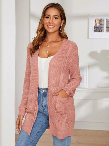 Pocket Front Solid Textured Sweater Coat
