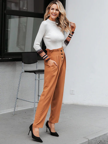 Simplee Paperbag Waist Button Front Pleated Pants