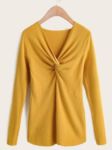 Solid V Neck Twist Front Sweater