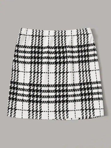 Split Hem Plaid Skirt