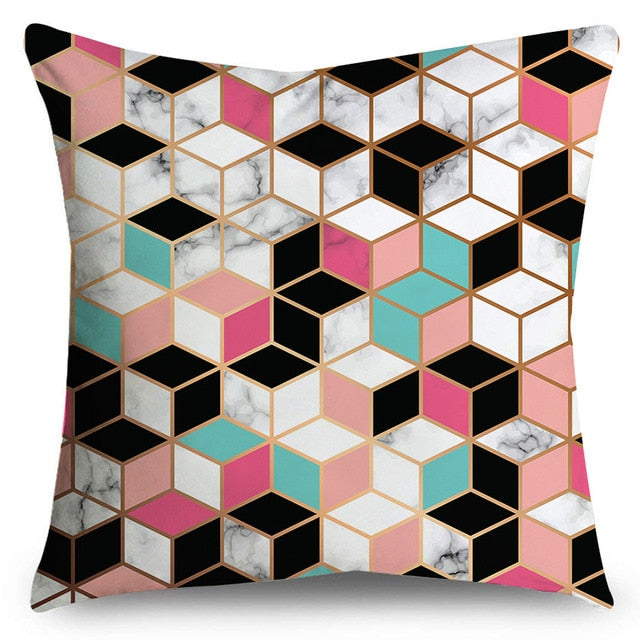 Double-Sided Printing Geometric Black Marble Pillow Case Microfiber Soft Decorative Cushion Sofa