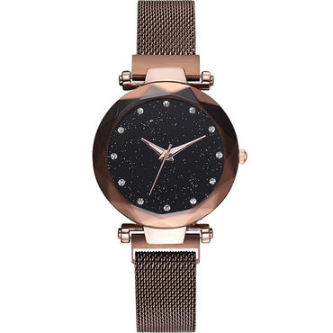 Women Starry Sky Watch Luxury Magnetic Buckle Mesh Band Wristwatch