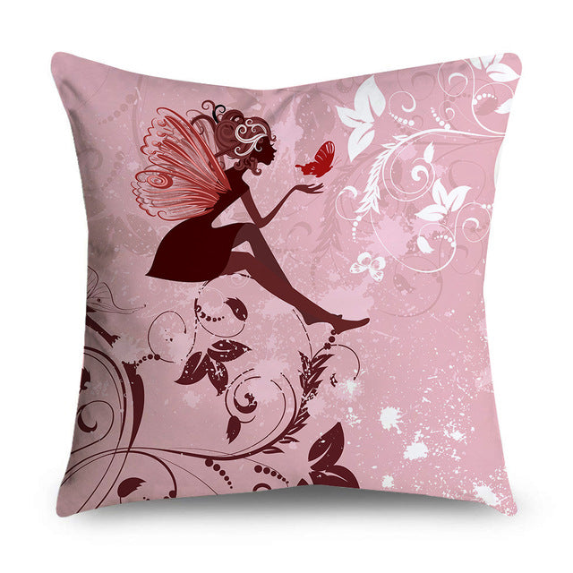 Double-Sided Printing Pink Flower Fairy Pillow Case Microfiber Soft Decorative Cushion