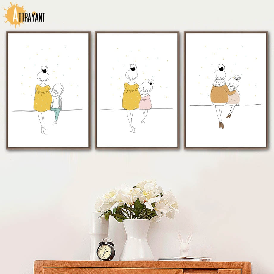 Cartoon Woman Girl Boy Minimalism Wall Art Canvas Painting Nordic Posters And Prints Wall Pictures