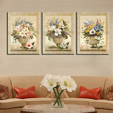 Canvas Print Oil Painting Art Modular Still Life Colorful Flower Picture