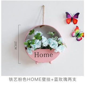 Creative iron artificial flowers wall hanging vase Succulent Flowerpot Container wall decoration
