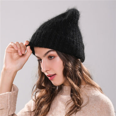 Women Beanie Angola Rabbit Fur Knitted Pompom Winter Hat
