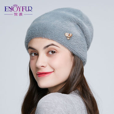 Winter Hats For Women Imitate Wool Thick Bonnet Rhinestone Beanies