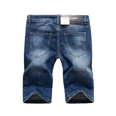 Italian Style Fashion Men's Jeans Shorts Slim Fit Stretch Elastic Ripped Short Jeans