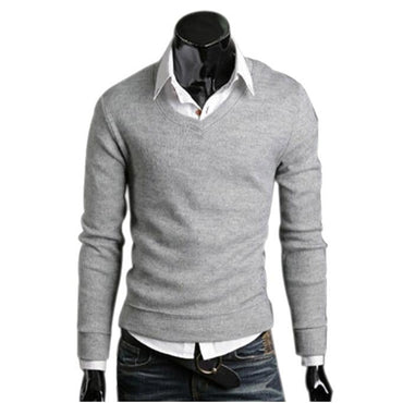 Men Sweater New Fashion Long Sleeve  V-Neck Tops Loose Solid Fit Knitting Sweater