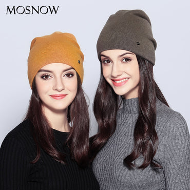 New Fashion Women Beanie Wool Knitted Autumn Winter Double Layer Beanie