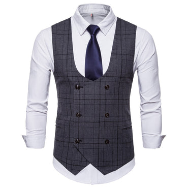 Men Vest Suit Classic British Plaid Gentleman Style Formal Business Occasion