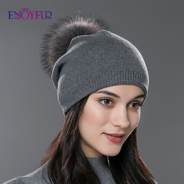 Women Winter Beanie Real Fur Pompom Wool Knitted Thick Warm Lined Ski Caps