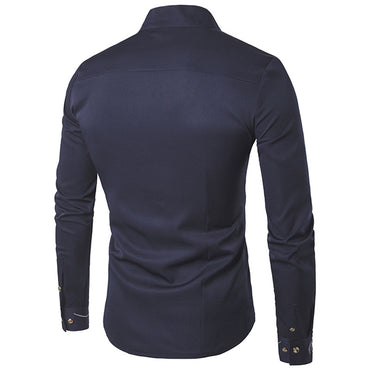 New Fashion Men Cotton Long Sleeved  Slim Fit Shirt