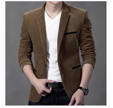 HOT Fashion Men Corduroy Blazers Slim Fit Casual Style Top Brand Designer