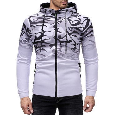 Men's pullover casual sports hoodie stripe 3D gradient